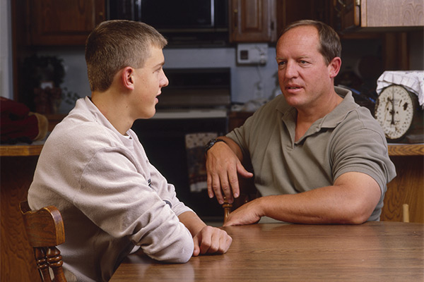 father son talking
